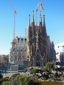 The view from our apartment window.  The Sagrada Familia.