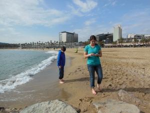 Walking the Barcelona beach searching for sea glass.  We spent hours wondering lazily up and down the beach!