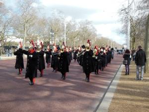 The parade to Buckinham Palace.