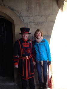 Me and the Beefeater before our tour!