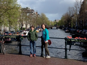 Standing along the canals.