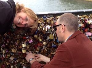 "Sealing our love on the ""lock bridge."""